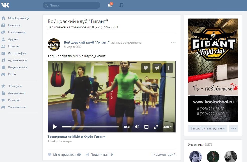 Портфолио продвижение групп бойцовский клуб