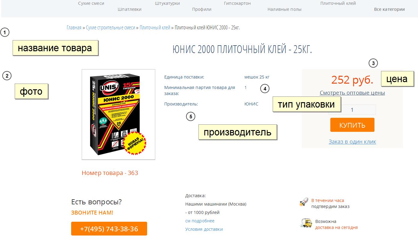 Наполнение  Интернет магазина