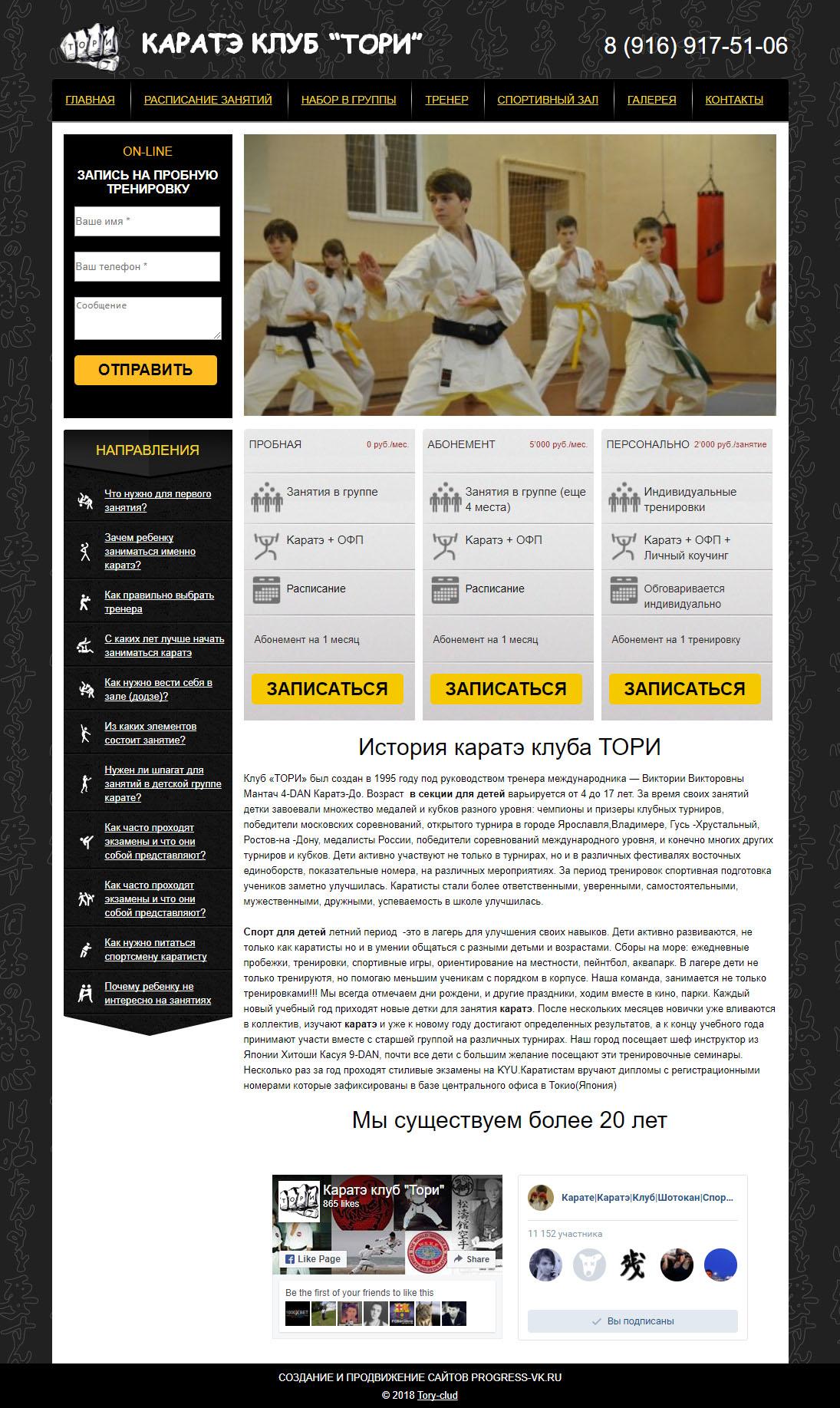 Создание сайта секции каратэ